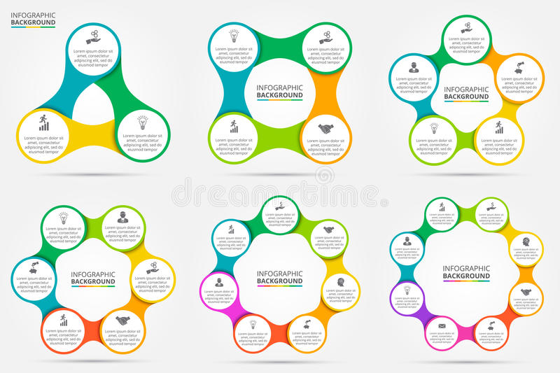 Vector circle infographic. Template for cycle diagram, graph, presentation and round chart. Business concept with 3, 4, 5, 6, 7 and 8 options, parts, steps or royalty free illustration