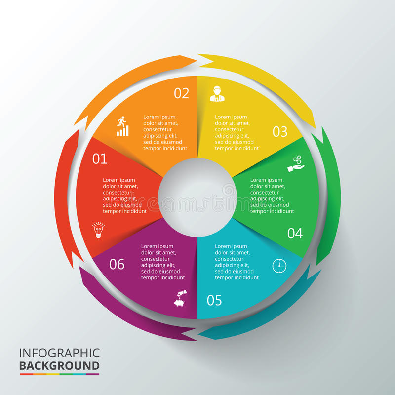 Vector circle infographic. Template for cycle diagram, graph, presentation and round chart. Business concept with 6 options, parts, steps or processes. Data