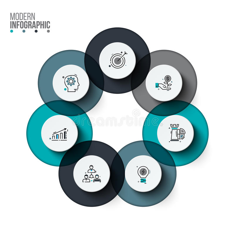 Vector circle infographic. Template for cycle diagram, graph, presentation and round chart. Business concept with 7 options, parts, steps or processes. Stroke royalty free illustration
