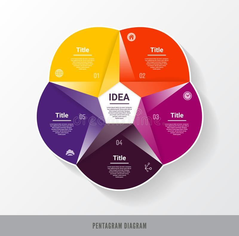 Vector circle infographic. Template for diagram, graph, presentation and chart. Business concept with five options, parts, steps o. R processes. Abstract stock illustration
