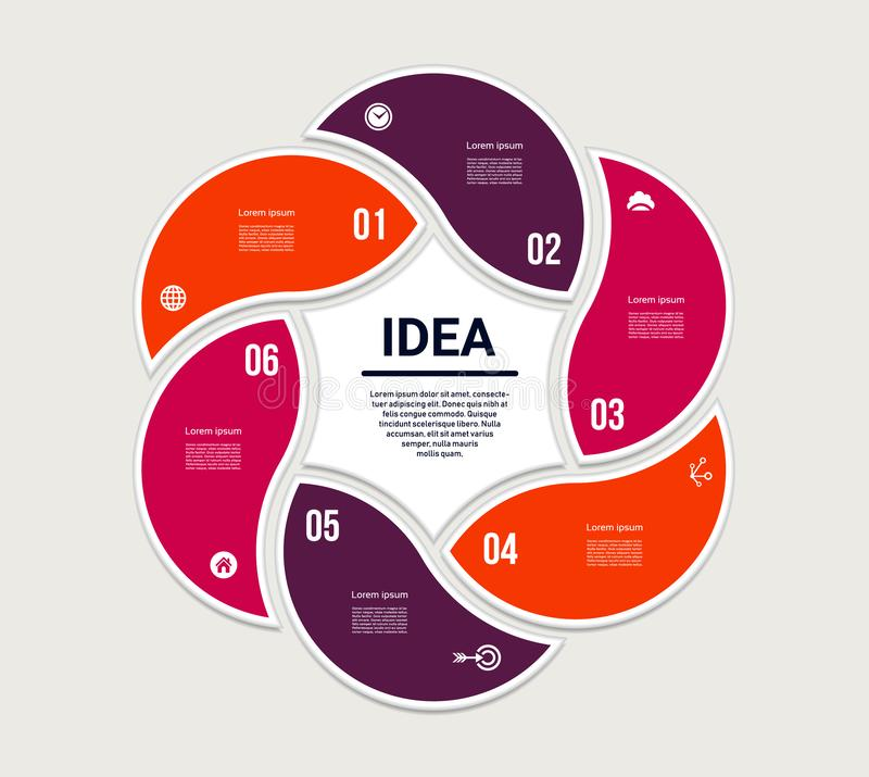 Vector circle infographic. Template for diagram, graph, presentation and chart. Business concept with 6 options, parts, steps or p. Rocesses. Abstract background stock illustration