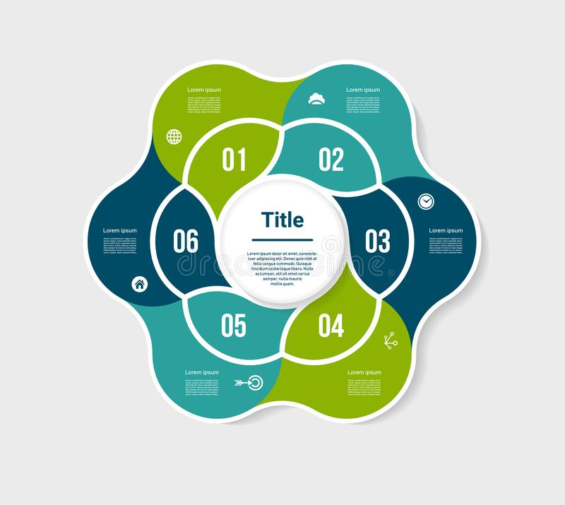 Vector circle infographic. Template for diagram, graph, presentation and chart. Business concept with 6 options, parts, steps or p. Rocesses. Abstract background vector illustration