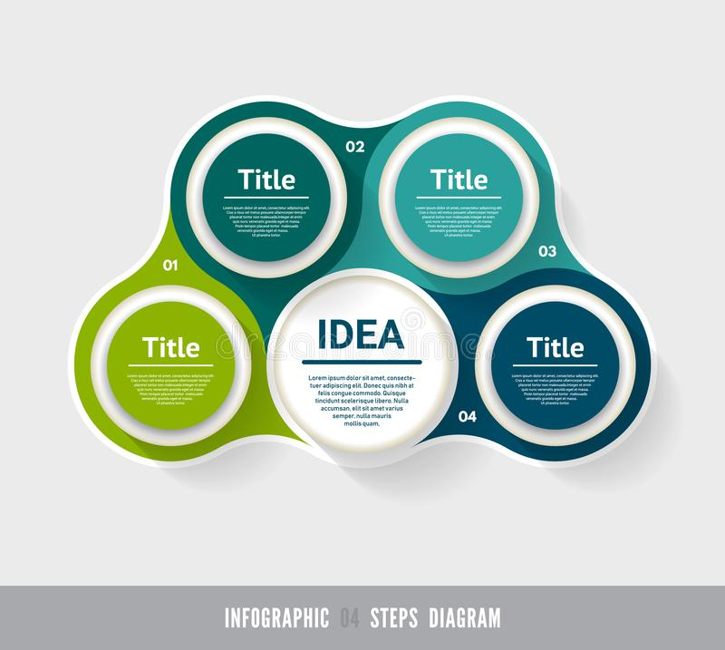 Vector circle infographic. Template for diagram, graph, presentation and chart. Business concept with 4 options, parts, steps or p. Rocesses. Abstract background stock illustration
