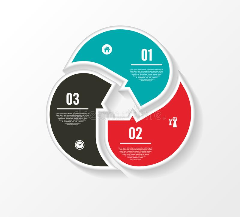 Vector circle infographic. Template for diagram, graph, presentation and chart. Business concept with three options, parts, steps. Or processes. Abstract royalty free illustration