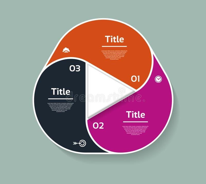 Vector circle infographic. Template for diagram, graph, presentation and chart. Business concept with three options, parts, steps. Or processes. Abstract stock illustration