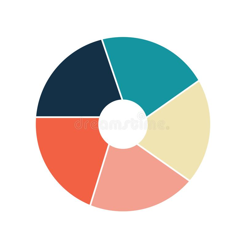 Vector circle infographic template for graphs, charts, diagrams. Pie chart concept with 5 options, parts, steps, processes. stock illustration