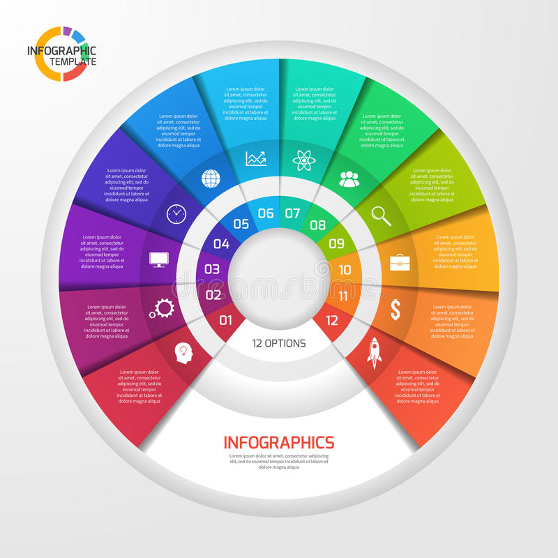 Vector circle infographic template for graphs, charts, diagrams. Pie chart concept with 12 options, parts, steps, processes vector illustration