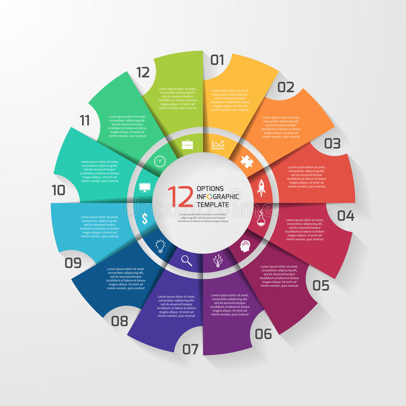 Vector circle infographic template for graphs, charts, diagrams. Pie chart concept with 12 options, parts, steps, processes stock illustration