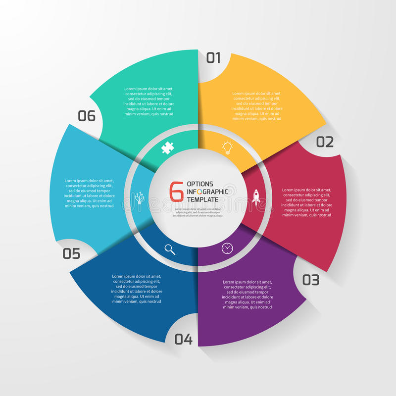Vector circle infographic template for graphs, charts, diagrams. Pie chart concept with 6 options, parts, steps, processes royalty free illustration