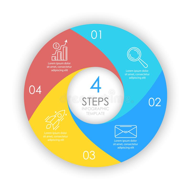 Vector circle infographic template with 4 options for presentations or layouts. royalty free illustration