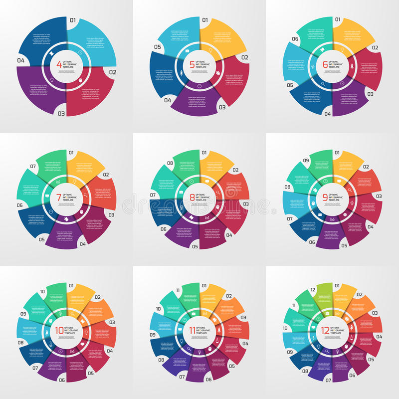 Vector circle infographic templates 4-12 options vector illustration