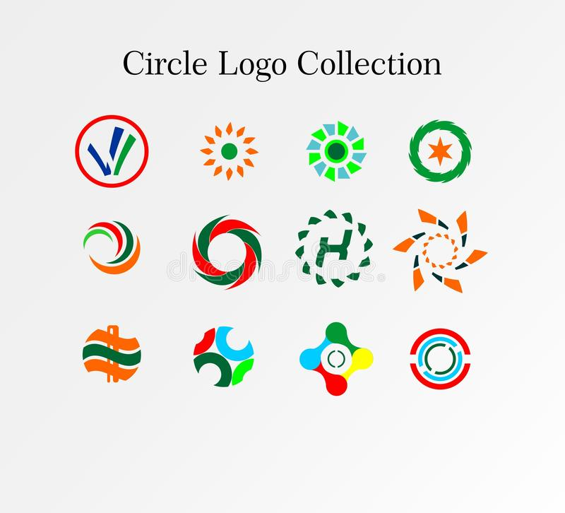 Vector of Circle Logo Collection Full. Is an Elegant and Awesome Logo Desin Concept for Company or Business Logo Design royalty free illustration