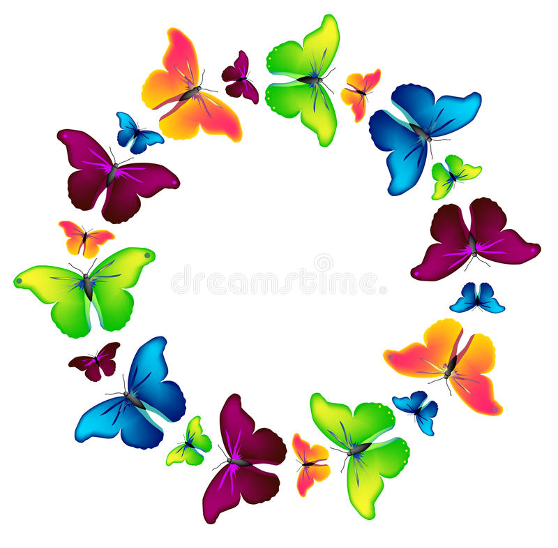 Free Vector Circle Of The Butterflies Royalty Free Stock Photography - 9401547