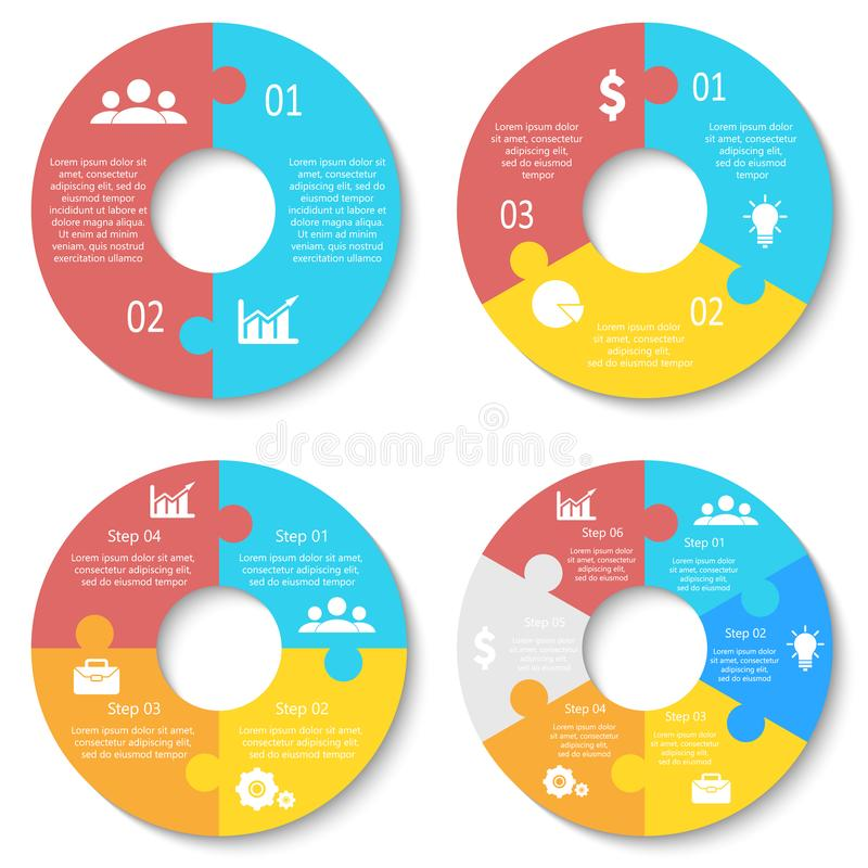 Vector circle puzzle for infographic. Template for round diagram, graph and chart. Business concept with 2, 3, 4, 6 element, parts or steps vector illustration