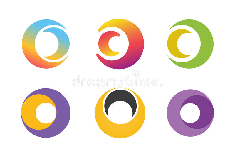 Vector circle ring logo design set. Abstract flow. Logo template. Round ring shape and infinity loop symbol, technology icon, geometric logo. Company logo. Logo stock illustration