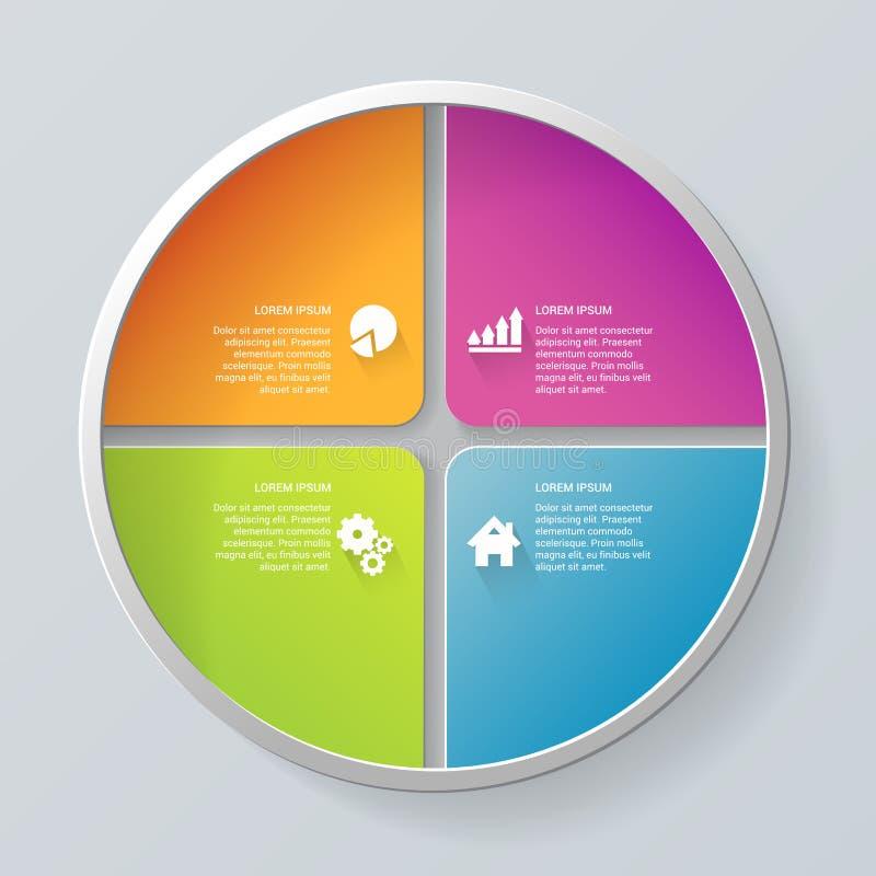 Vector circle segment infographics mockup template background stock illustration