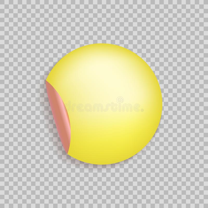 Vector Circle Shape Sticker with Curled Corner Isolated on Light Transparent Background, Blank Template, Yellow and Red Color. stock illustration