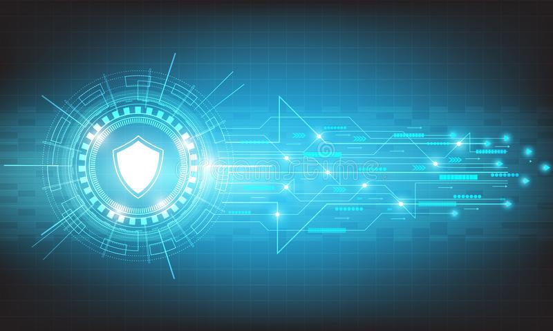 Vector circle tech security with various technological design. stock illustration