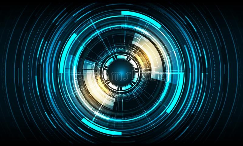 Vector circle technology design on blue color background. stock illustration