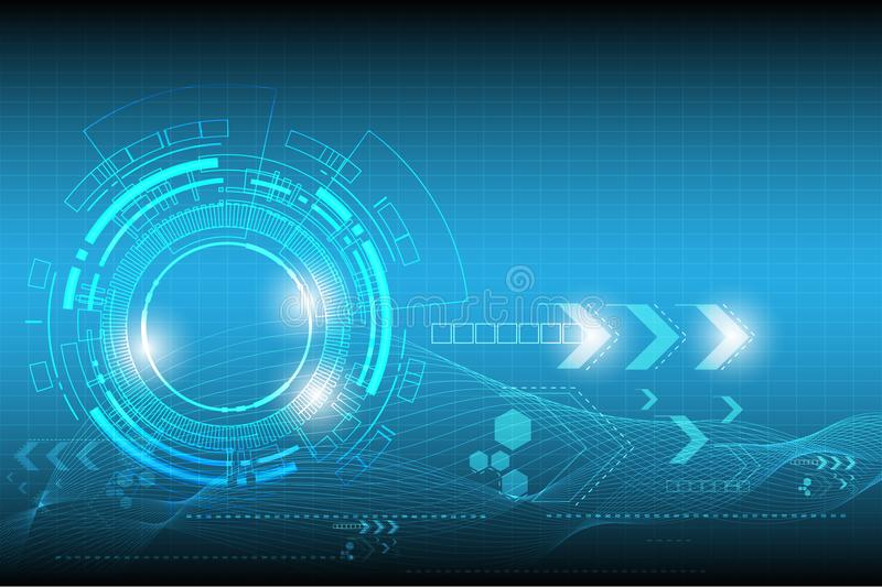 Vector circle technology design with various technological on blue background. royalty free illustration