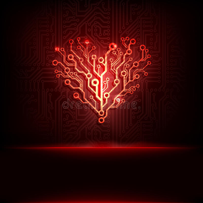Free Vector Circuit Board Background With Heart. Stock Photos - 28577603