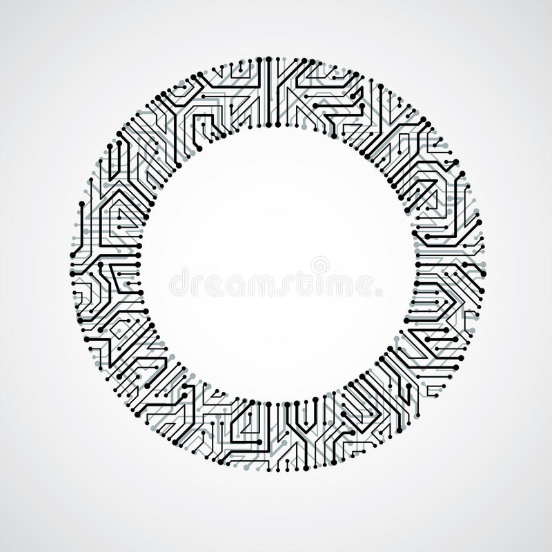 vector circuit board circle  digital technologies abstraction b stock vector illustration of