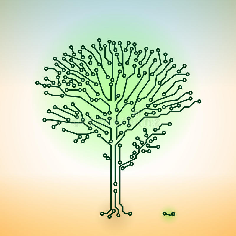 Vector Circuit Board Electronic Tree - Digital Tec Royalty Free Stock Images