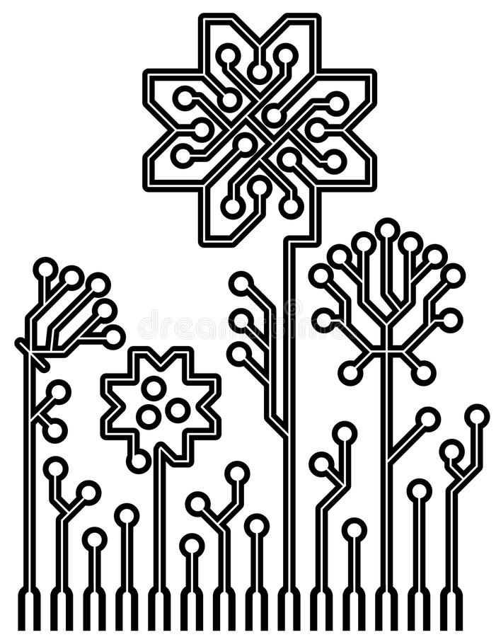 vector circuit board flowers for your design royalty free stock images