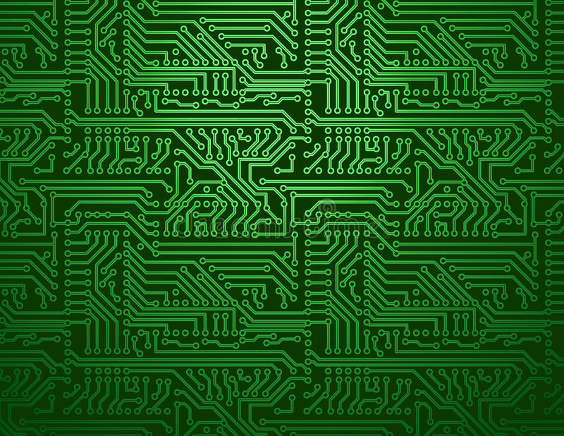 Vector circuit board green background royalty free illustration