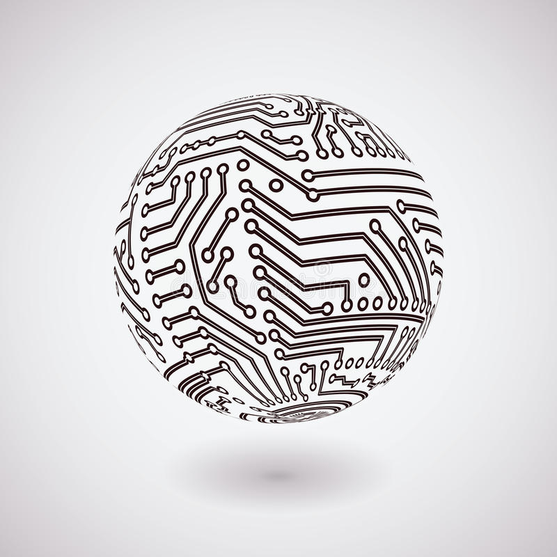 Vector circuit board sphere royalty free illustration
