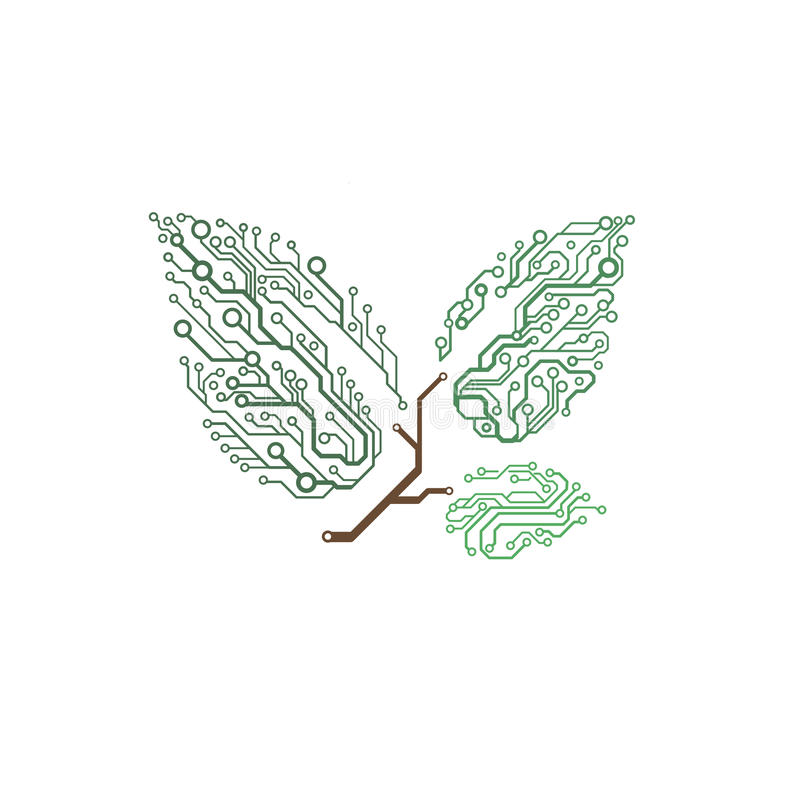 Vector circuit board twig with leaves vector illustration