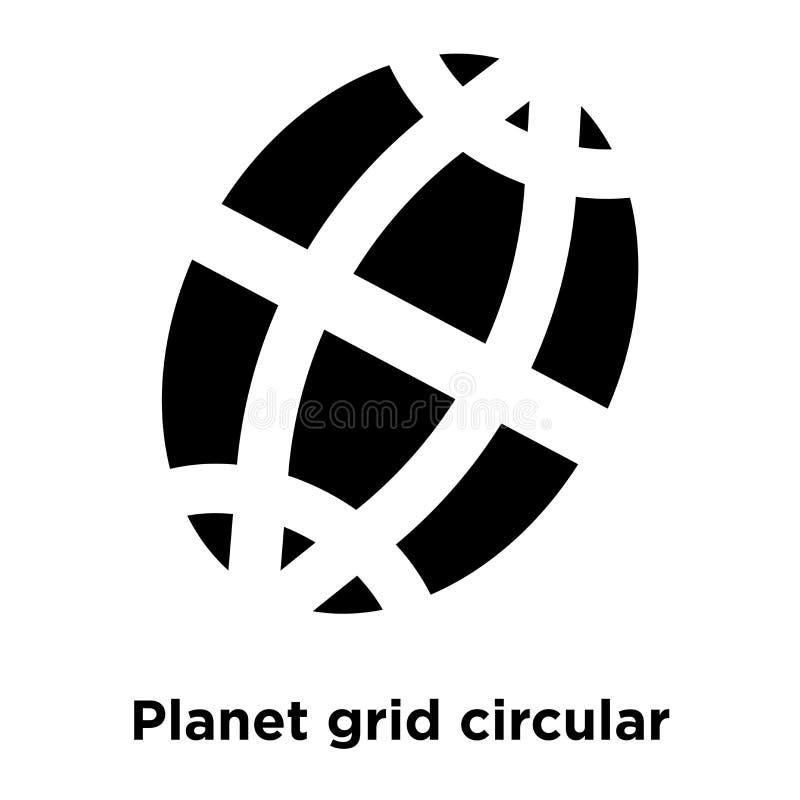 Vector circular del icono de la rejilla del planeta aislado en el fondo blanco, l stock de ilustración