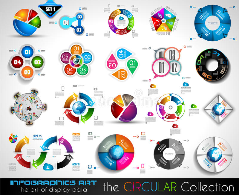 Vector Circular Infographics BIG collection for your graphs royalty free illustration