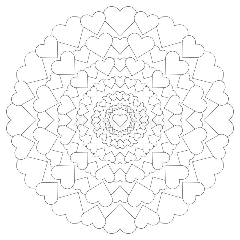 Vector circular pattern loving mandala with hearts black and white stock illustration