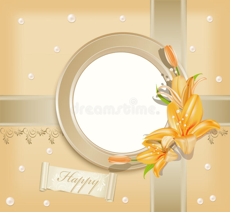 Vector  With Circular  Photo Frame, Lilies Royalty Free Stock Images