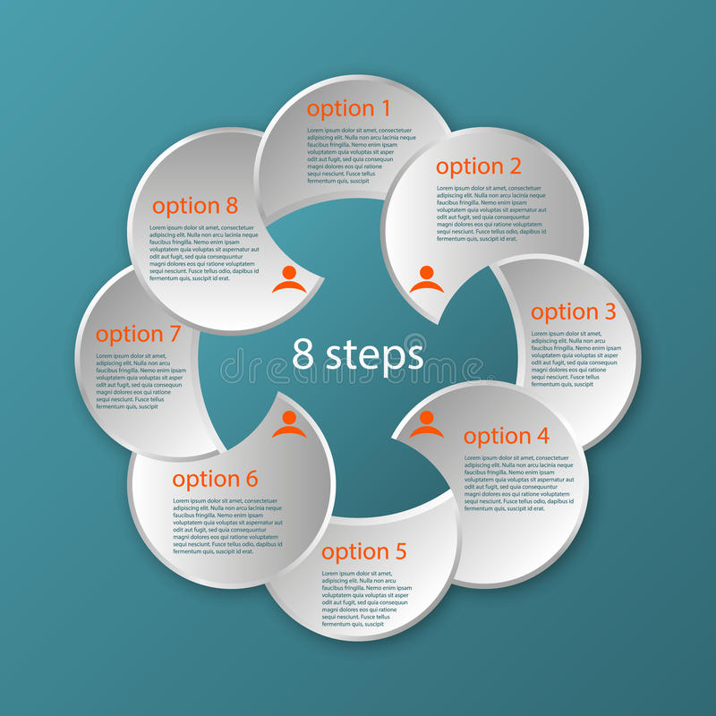 Vector circular timeline infographic template 8 steps royalty free illustration