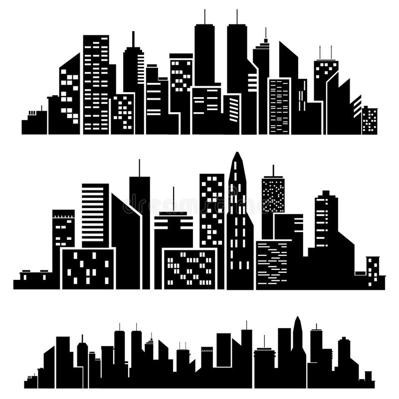 Vector cities silhouette royalty free illustration