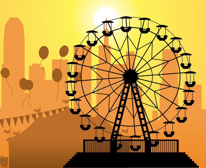 Vector City And Amusement Park Stock Photo