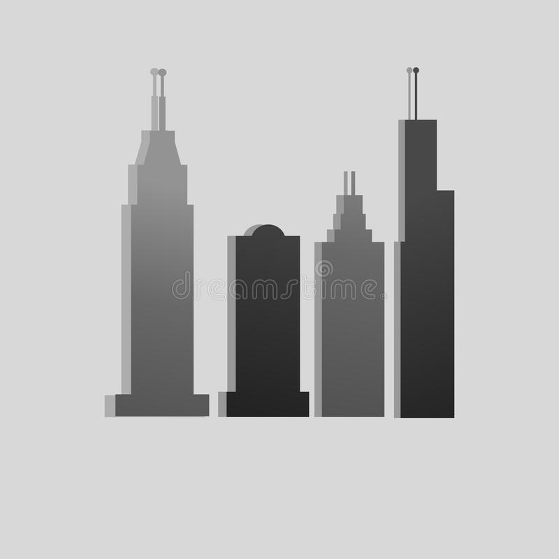Vector City as landmark. Vector City with gradient and grey background vector illustration