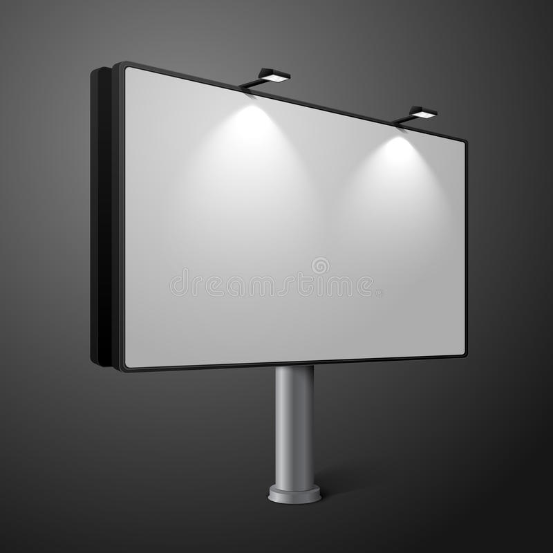 Vector city billboard with lamps, isolated on dark royalty free illustration