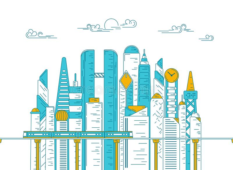 Metropolis skytrain. Vector of city with building and skytrain, concept of metropolis development, graphic of urban technology for infographic stock illustration