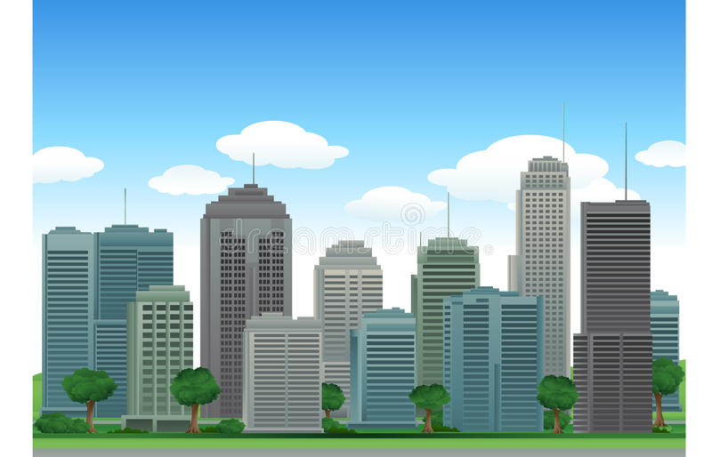 Vector city buildings stock illustration