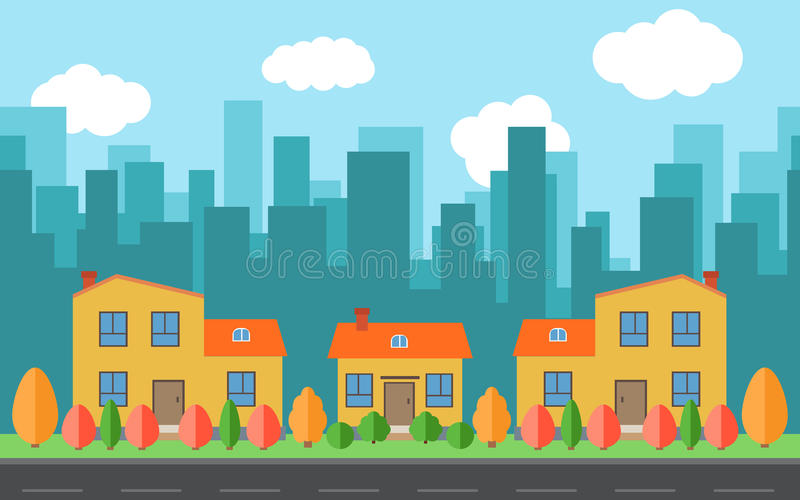 Vector city with cartoon houses and buildings with red, yellow and green trees and shrubs. City space with road on flat style background concept. Summer urban stock illustration
