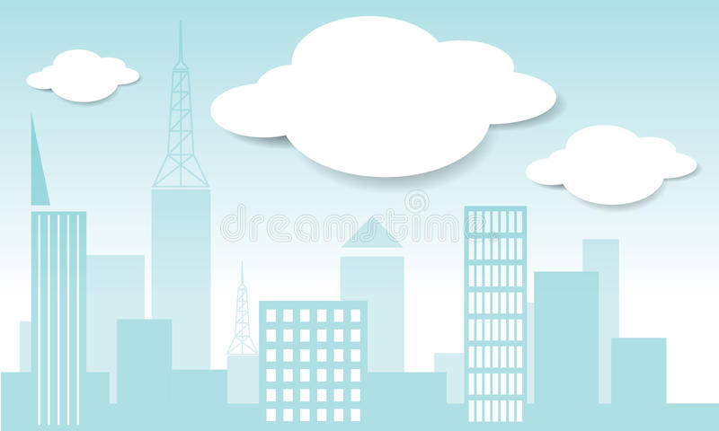 Vector city and cloud in blue sky background vecto royalty free illustration