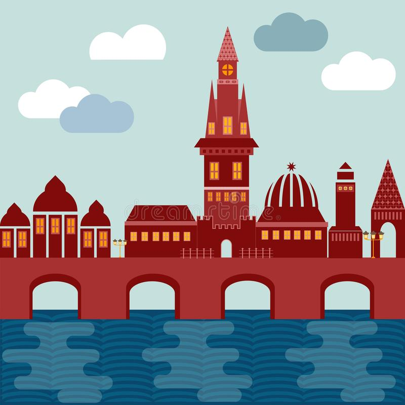 Vector city european on coast with bridge houses tower of church. And castle of red color on background of sky with clouds vector illustration
