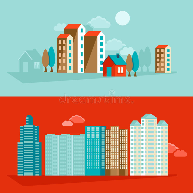 Vector city illustration in flat simple style stock illustration