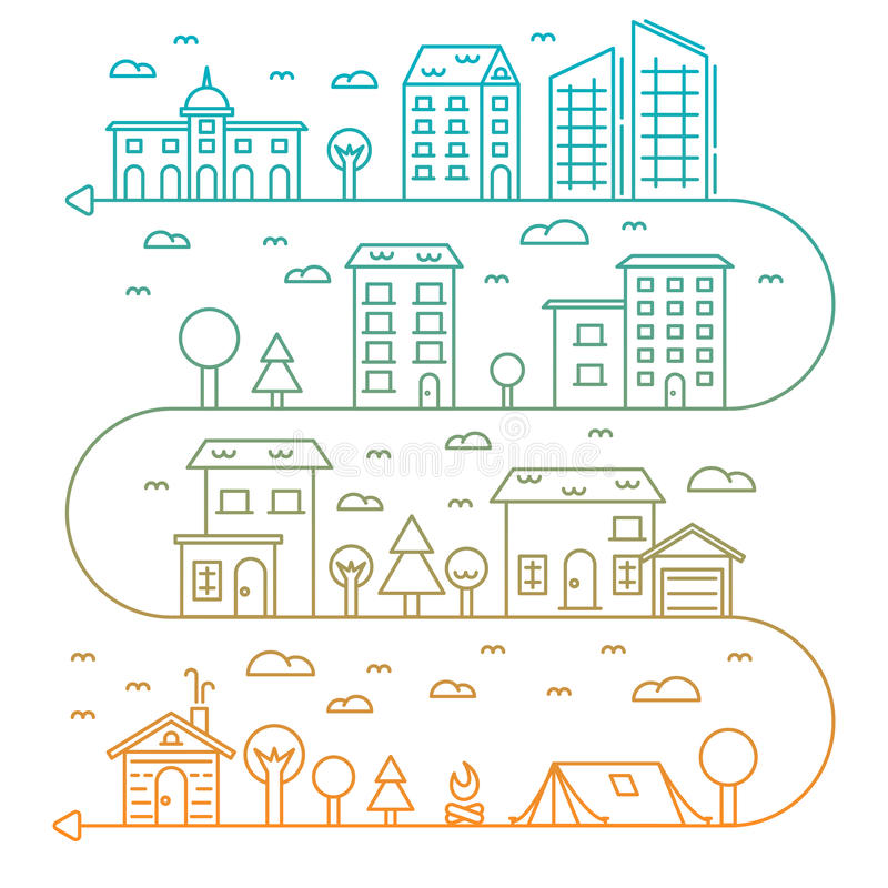 Vector city illustration in linear style buildings stock illustration