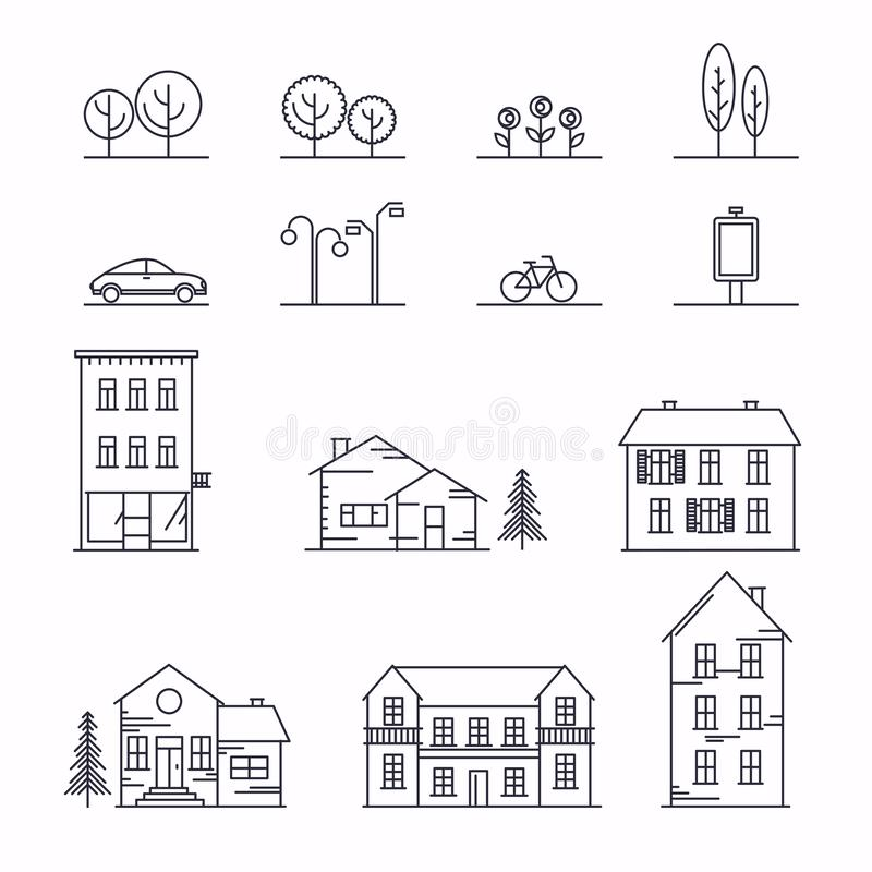 Vector city illustration in linear style. Icons and illustrations with buildings, houses and architecture signs. Ideal for royalty free illustration