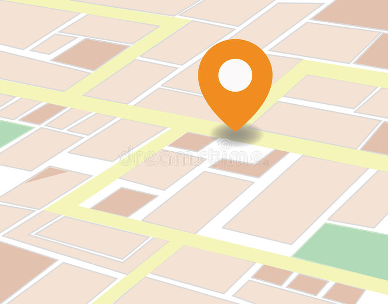 Vector city map with GPS Icons illustration stock image
