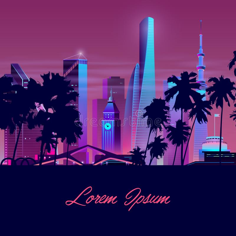 Vector city with palms, tower. Background template. Vector template with dark palms and night city in neon, ultraviolet colors. Bright tower with clock, tall stock illustration